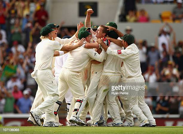 Peter Siddle of Australia celebrates after claiming a hat trick by dismissing Stuart Broad of England during day one of the First Ashes Test match...