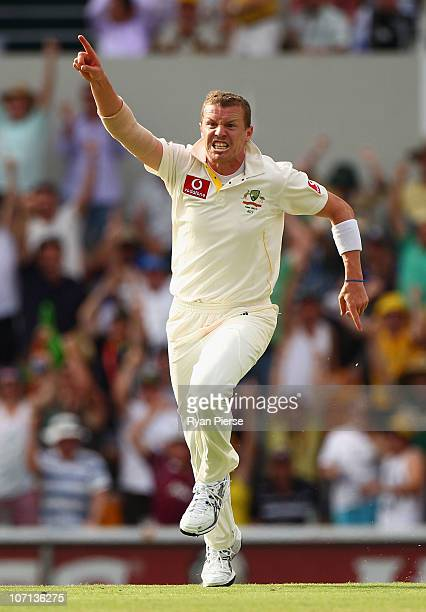 Peter Siddle of Australia celebrates after claiming the wicket of Matt Prior of England during day one of the First Ashes Test match between...