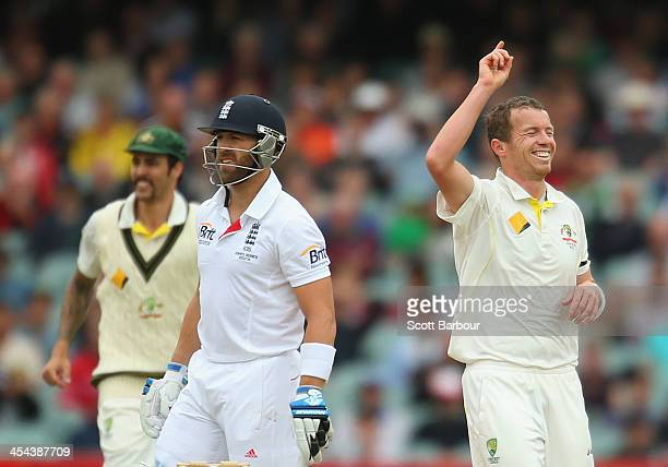 Peter Siddle of Australia celebrates after dismissing Matt Prior of England during day five of Second Ashes Test Match between Australia and England...