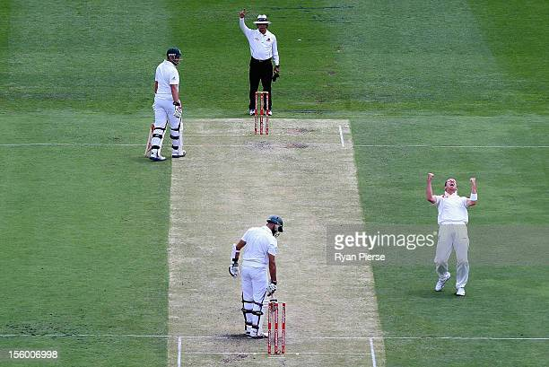 Peter Siddle of Australia celebrates after taking the wicket of Hashim Amla of South Africa during day three of the First Test match between...
