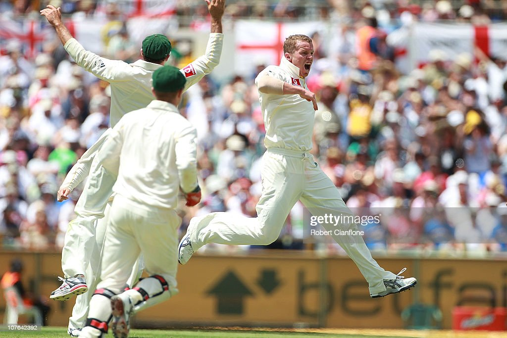 Peter Siddle of Australia celebrates the wicket of Matt Prior of England during day two of the Third Ashes Test match between Australia and England at WACA on December 17, 2010 in Perth, Australia.