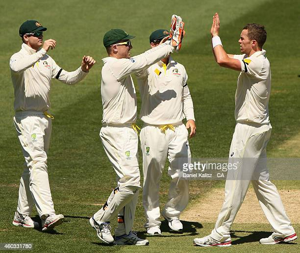 Peter Siddle of Australia celebrates with his team mates after bowling out Karn Sharma of India during day four of the First Test match between...