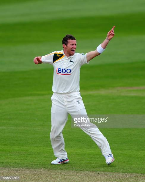Peter Siddle of Nottinghamshire celebrates taking the wicket of Marcus Trescothick of Somerset during day two of the LV County Championship Division...