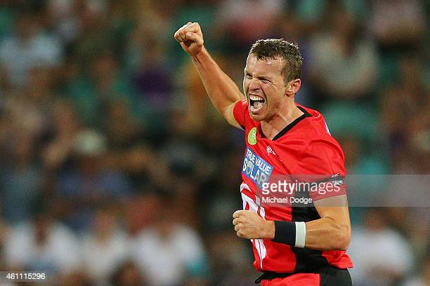 Peter Siddle of the Renegades celebrates his wicket of Jonothan Wells of the Hurricanes during the Big Bash League match between the Hobart...