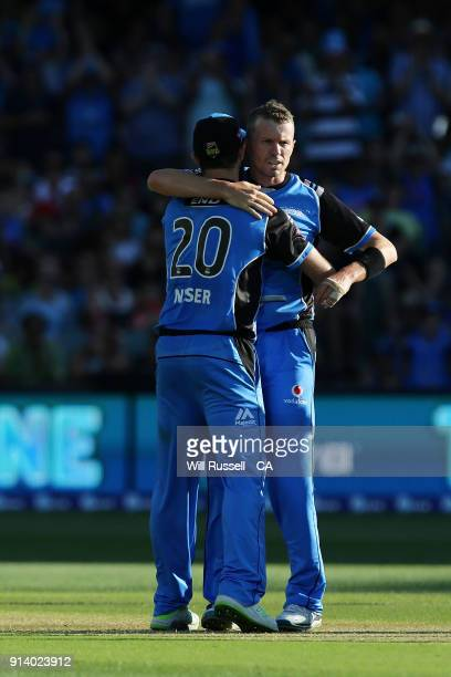 Peter Siddle of the Strikers celebrates after taking the wicket of Ben McDermott of the Hurricanes during the Big Bash League Final match between the...