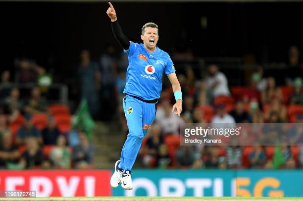 Peter Siddle of the Strikers celebrates taking the wicket of Ben Dunk of the Stars during the Big Bash League match between the Melbourne Stars and...