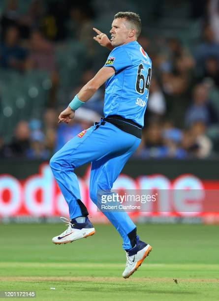 Peter Siddle of the Strikers celebrates taking the wicket of Dan Worrall of the Stars during the Big Bash League match between the Adelaide Strikers...