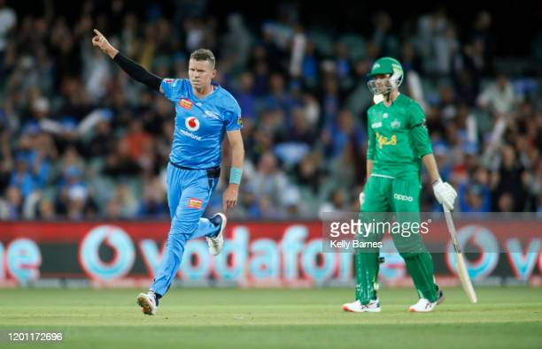 Peter Siddle of the Strikers celebrates the final wicket of the game during the Big Bash League match between the Adelaide Strikers and the Melbourne...