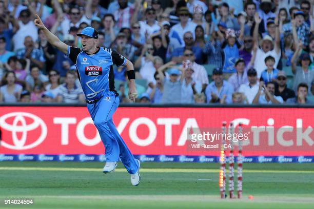 Peter Siddle of the Strikers celebrates the run out of Matthew Wade of the Hurricanes by Alex Carey of the Strikers during the Big Bash League Final...