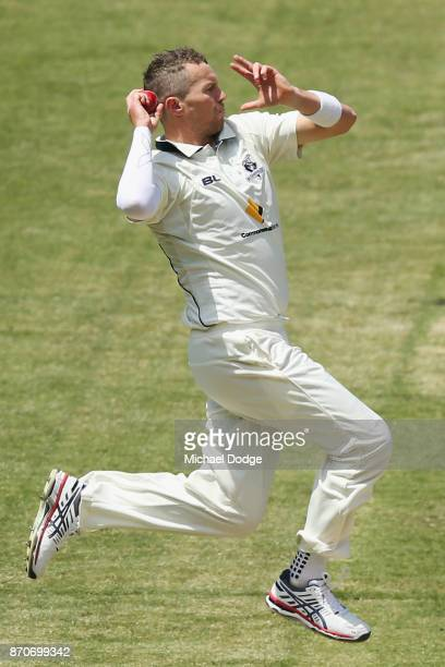 Peter Siddle of Victoria bowls during day three of the Sheffield Shield match between Victoria and South Australia at Melbourne Cricket Ground on...