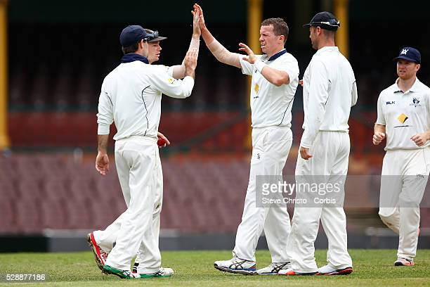 Peter Siddle of Victoria celebrates the wicket of Blues Ryan Carters during the Sheffield Shield match between New South Wales and Victoria at the...