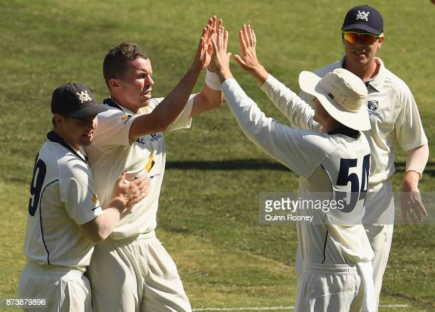 Peter Siddle of Victoria is congratulated by team mates after getting the wicket of Jake Doran of Tasmania during day two of the Sheffield Shield...