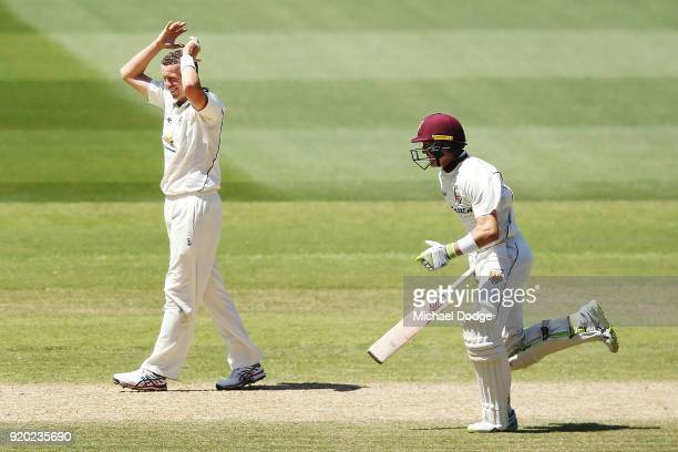 Peter Siddle of Victoria shows his frustration after bowling to Marnus Labuschagne of Quennsland during day four of the Sheffield Shield match...