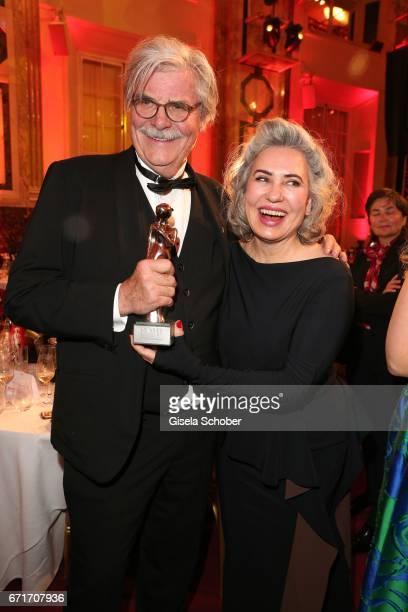 Peter Simonischek and his wife Brigitte Karner wth award during the ROMY award at Hofburg Vienna on April 22 2017 in Vienna Austria