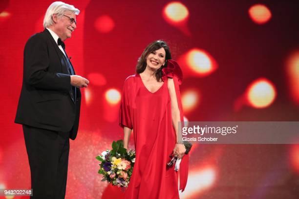 Peter Simonischek and Iris Berben during the 29th ROMY award at Hofburg Vienna on April 7, 2018 in Vienna, Austria.