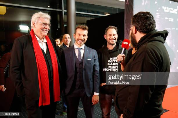 Peter Simonischek Edin Hasanovic and Moritz Bleibtreu attend the 'Nur Gott kann mich richten' Screening at Cubix Alexanderplatz on January 25 2018 in...