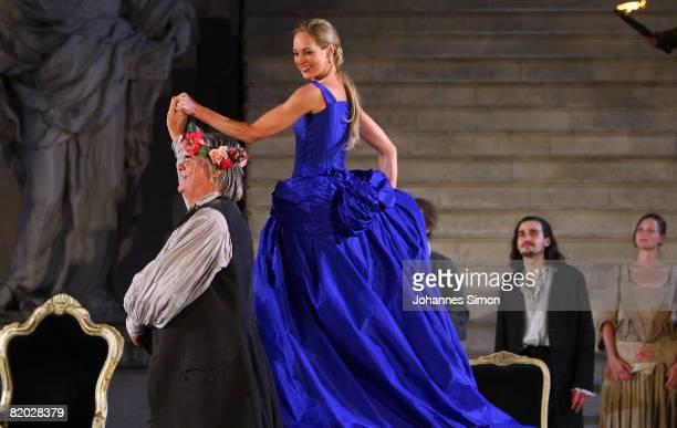 Peter Simonischek 'Everyman' and Sophie von Kessel 'Paramour' perform on stage during the rehearsal of 'Jedermann' 'Everyman' of Hugo von...