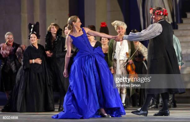 Peter Simonischek , 'Everyman', and Sophie von Kessel, 'Paramour' performs on stage during the rehearsal of 'Jedermann' 'Everyman' of Hugo von...