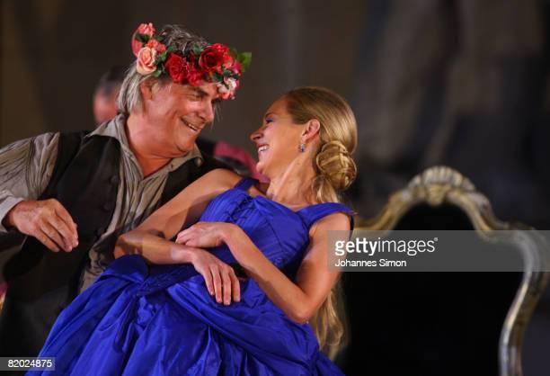 Peter Simonischek 'Everyman' and Sophie von Kessel 'Paramour' performs on stage during the rehearsal of 'Jedermann' 'Everyman' of Hugo von...