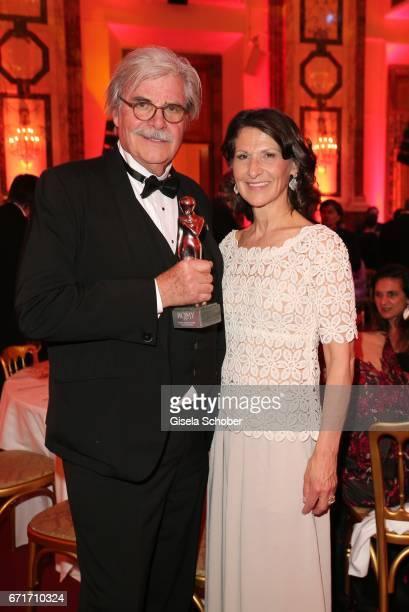 Peter Simonischek with award and Antonia Rados during the ROMY award at Hofburg Vienna on April 22 2017 in Vienna Austria