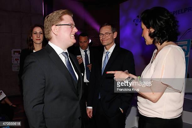 Peter Smits Michael Mueller and Dorothee Baer attend the German Computer Games Award 2015 at eWerk on April 21 2015 in Berlin Germany