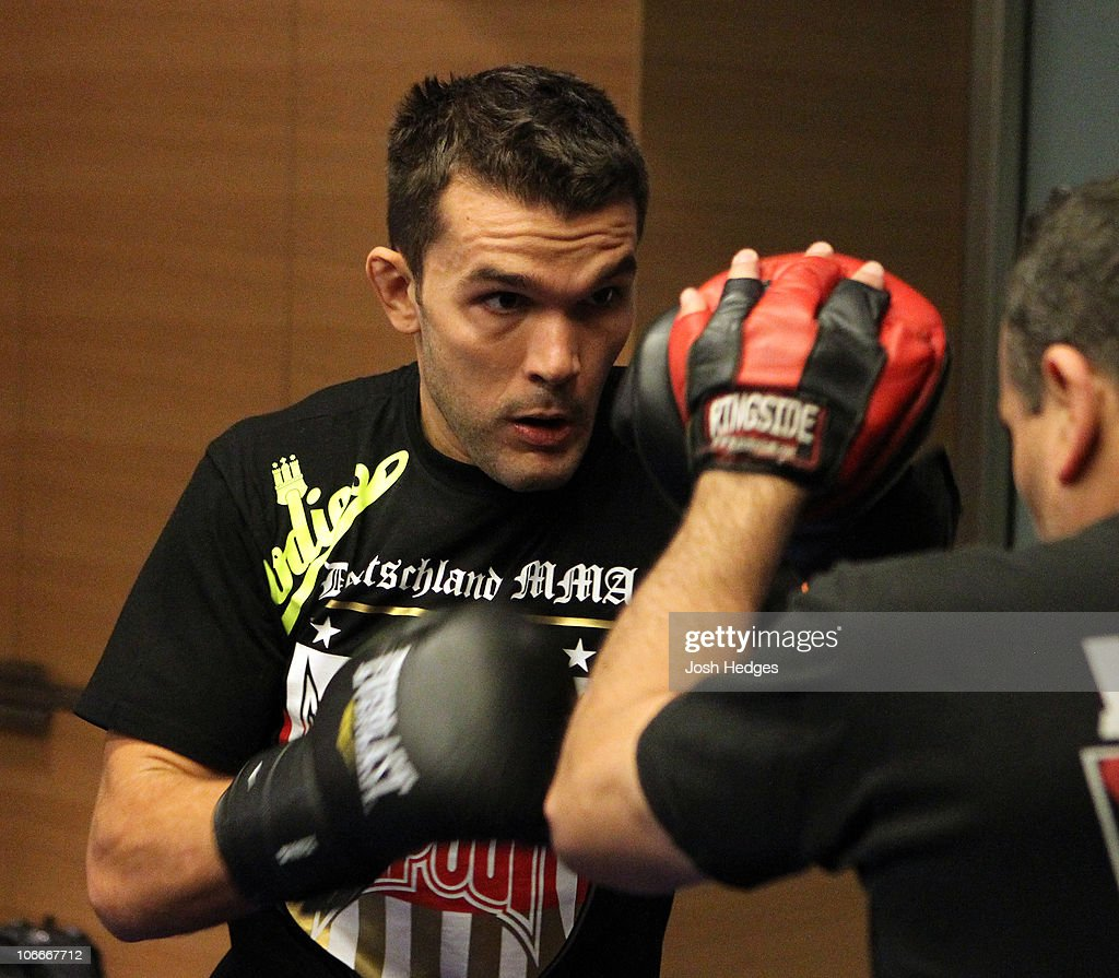 Peter Sobotta of Germany (L) works out at the UFC 122 open workouts at the Hilton Hotel on November 10, 2010 in Dusseldorf, Germany.