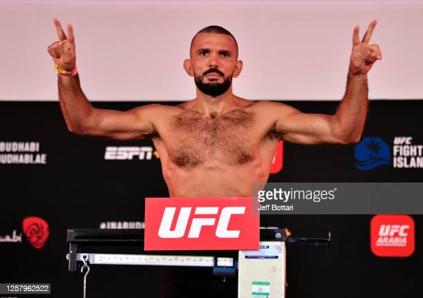 Peter Sobotta of Poland poses on the scale during the UFC Fight Night weigh-in inside Flash Forum on UFC Fight Island on July 24, 2020 in Yas Island,...