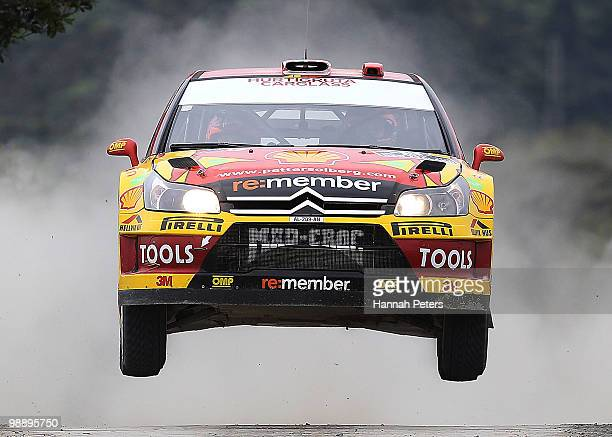 Peter Solberg of Norway and codriver Phil Mills drive their Citroen C4 WRC during stage 2 of the WRC Rally of New Zealand at Waipu on May 7 2010 in...