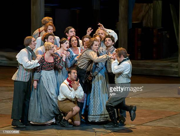 Peter Sonn as David and Opera singers perform during a dress rehearsal of Richard Wagner's opera 'Meistersinger von Nuernberg' in Salzburg on July 29...
