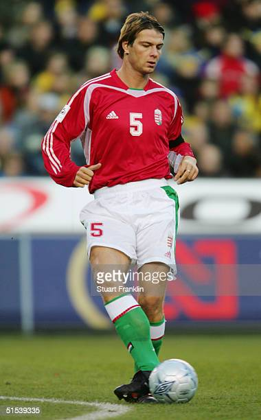 Peter Stark of Hungary in action during the World Cup 2006 Qualifying match between Sweden and Hungary at The Rasunda Stadium on October 9 2004 in...
