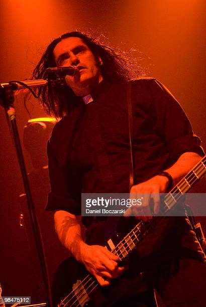 Peter Steele of Type O Negative performs on stage wearing a clerical collar at the Vic Theatre on November 21st 2007 in Chicago Illinois United States