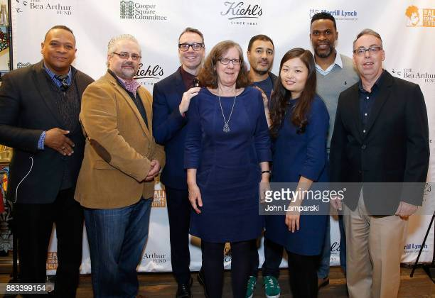 Peter Stefanoupoulos , Joe Serance Glenwyn Dickerson , Steve Herrick and builders staff attend The Bea Arthur Residence Building dedication on...