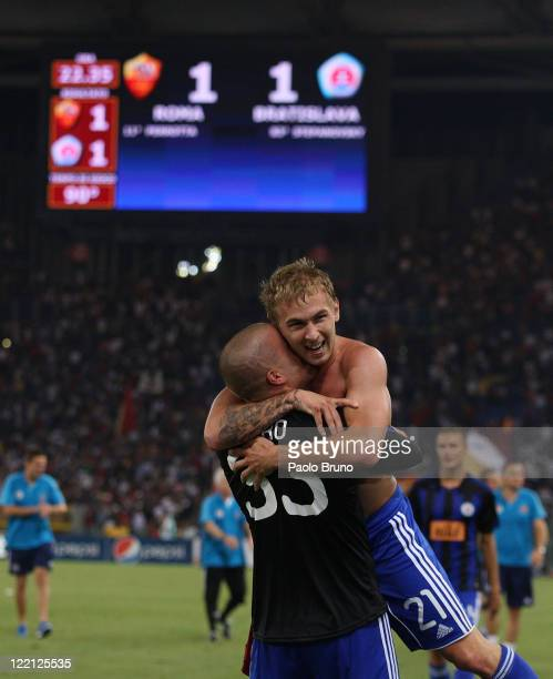 Peter Stepanovsky of SK Slovan Bratislava celebrates after the UEFA Europa League playoff second leg match between AS Roma and SK Slovan Bratislava...