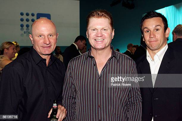 Peter Sterling Paul Vautin and Matthew Johns attend the launch of the 2006 Channel Nine programs in their studios November 10 2005 in Sydney Australia