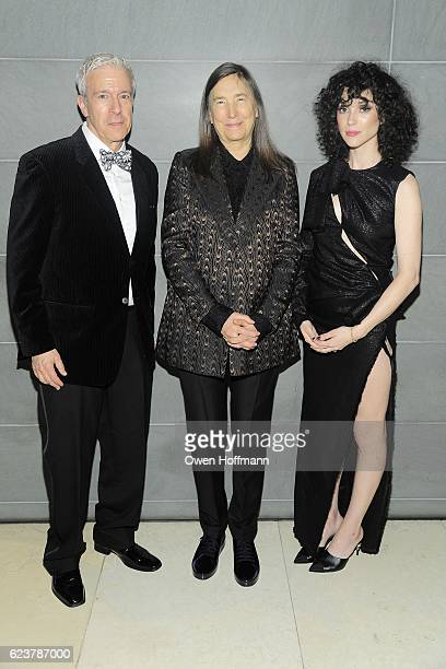 Peter Stern Jenny Holzer and St Vincent attend Royal Academy America Gala Honoring Norman Foster and Jenny Holzer at Hearst Tower on November 15 2016...