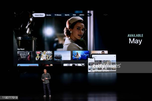 Peter Stern vice president of services at Apple Inc speaks during a company product launch event at the Steve Jobs Theater at Apple Park on March 25...