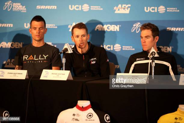 Peter Stetina of The United States and Team TrekSegafredo speaks during the press conference for the 13th Amgen Tour of California 2018 on May 11...