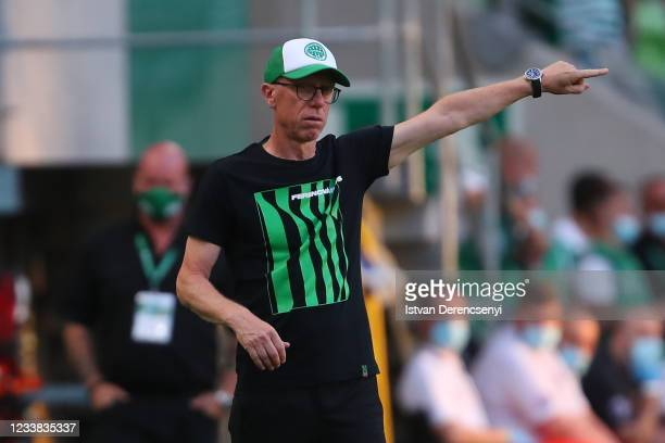 Peter Stöger, Manager of Ferencvarosi TC gestures during the UEFA Champions League First Qualifying Round 1st Leg match between Ferencvarosi TC v FC...