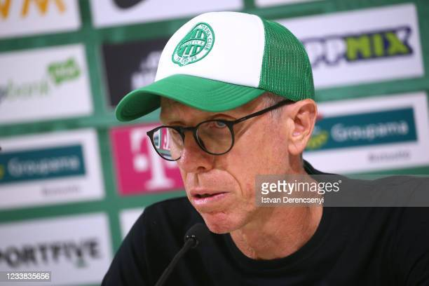Peter Stöger Manager of Ferencvarosi TC is interviewed during a press conference after the UEFA Champions League First Qualifying Round 1st Leg match...