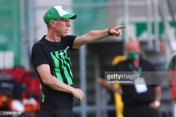 Peter Stöger, Manager of Ferencvarosi TC reacts during the UEFA Champions League First Qualifying Round 1st Leg match between Ferencvarosi TC v FC...