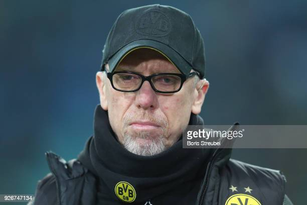 Peter Stoeger coach of Dortmund looks on before the Bundesliga match between RB Leipzig and Borussia Dortmund at Red Bull Arena on March 3 2018 in...