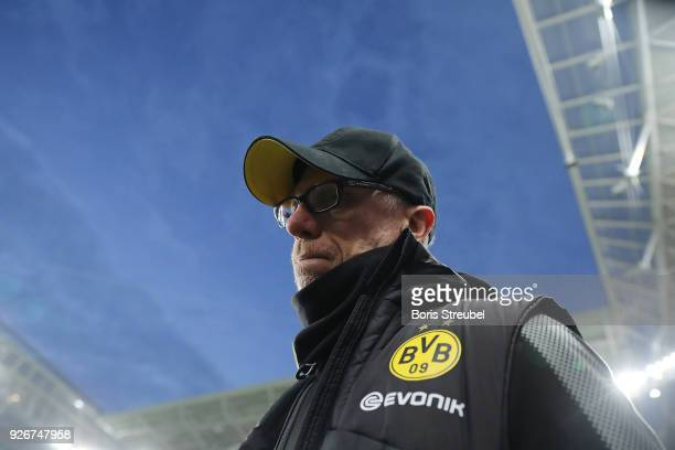 Peter Stoeger, coach of Dortmund, looks on before the Bundesliga match between RB Leipzig and Borussia Dortmund at Red Bull Arena on March 3, 2018 in...