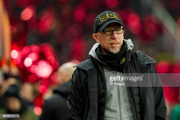Peter Stoeger coach of Dortmund looks on prior to UEFA Europa League Round of 16 second leg match between FC Red Bull Salzburg and Borussia Dortmund...