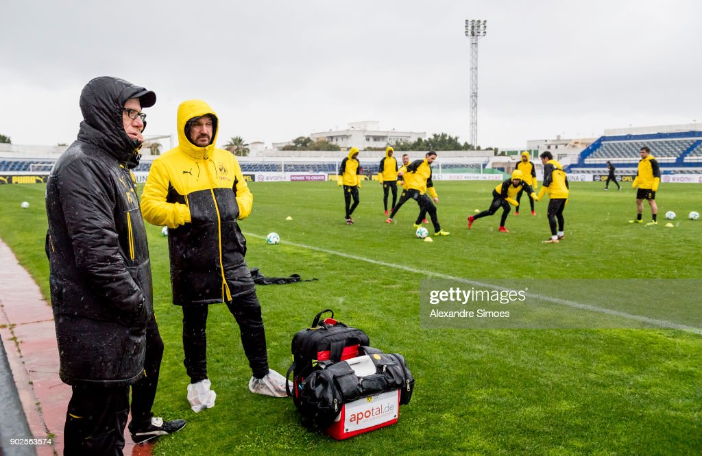 Peter Stoeger, head coach of Borussia Dortmund, during a rainy training session as part of the training camp at the Estadio Municipal de Marbella on January 08, 2018 in Marbella, Spain.