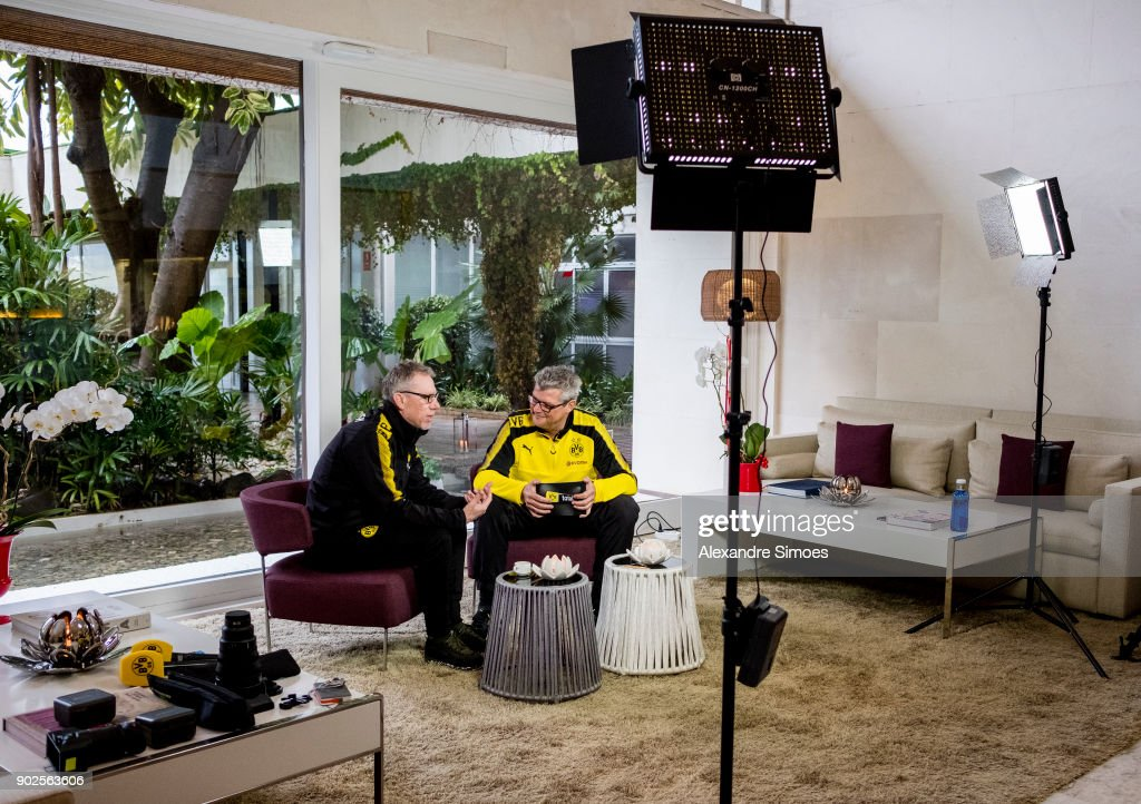 Peter Stoeger, head coach of Borussia Dortmund, during an interview session with Norbert Dickel as part of the training camp at the Estadio Municipal de Marbella on January 08, 2018 in Marbella, Spain.