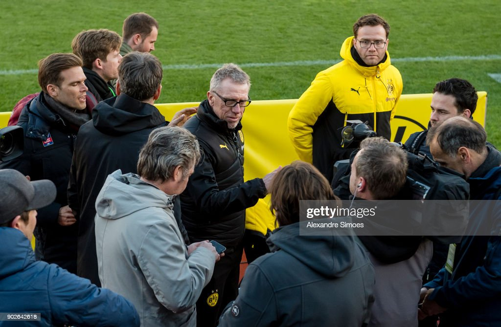 Peter Stoeger, head coach of Borussia Dortmund, with the press after the friendly match between Borussia Dortmund and SV Zulte Waregem as part of the training camp at the Estadio Municipal de Marbella on January 08, 2018 in Marbella, Spain.