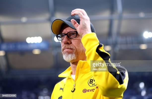 Peter Stoeger head coach of Dortmund looks on before the Bundesliga match between FC Schalke 04 and Borussia Dortmund at VeltinsArena on April 15...