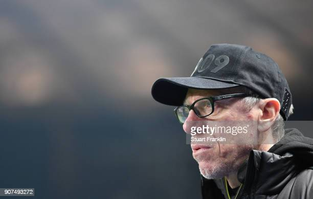 Peter Stoeger head coach of Dortmund looks on during the Bundesliga match between Hertha BSC and Borussia Dortmund at Olympiastadion on January 19...