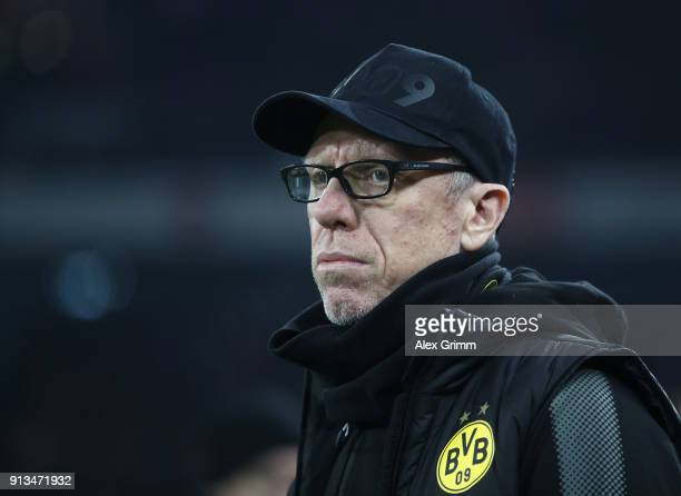 Peter Stoeger head coach of Dortmund looks on during the Bundesliga match between 1 FC Koeln and Borussia Dortmund at RheinEnergieStadion on February...