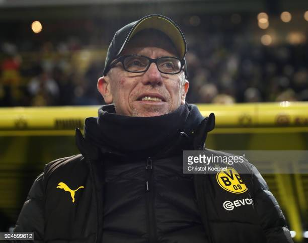 Peter Stoeger head coach of Dortmund looks on prior to the Bundesliga match between Borussia Dortmund and FC Augsburg at Signal Iduna Park on...